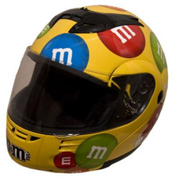 M&M Licensed Full Face Yellow Motorcycle Helmet - modmmy